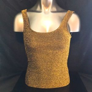 Forever 21 Sleeveless Scoop-Neck Bodysuit Blk/Gold